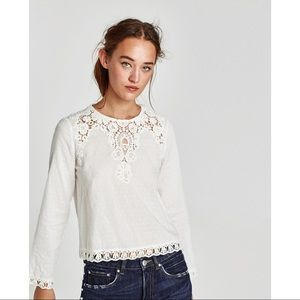 Zara Top with Dotted Fabric and Guipure Lace